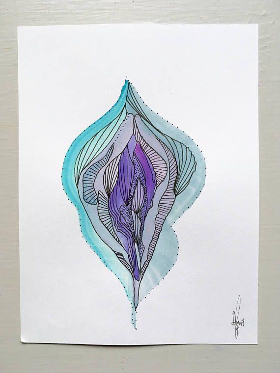Original Vagina Flower Painting Vulva Yoni Labia Artwork Abstract Feminist Feminism Fem Wall Art -5734