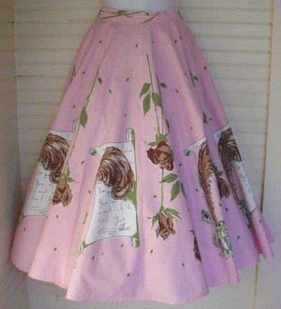 Love letter from Elvis, 1950s skirt  http://thevintagetraveler.wordpress.com/2012/04/23/the-1950s-circle-skirt/