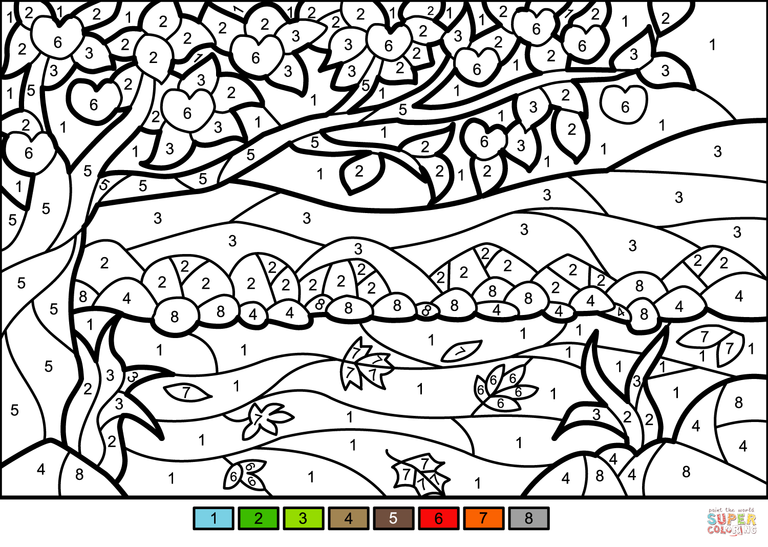 Apple Tree Color By Number Super Coloring Fall Coloring Pages Coloring Pages Free Printable Coloring Pages