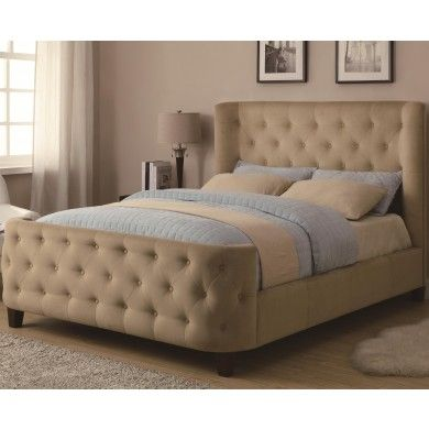 Lovely wrap around headboard and footboard on this beige for Wrap around sofa bed