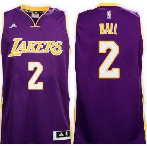 23d49f36f8b Men's Los Angeles Lakers #2 Lonzo Ball Purple Swingman Jersey | NBA ...