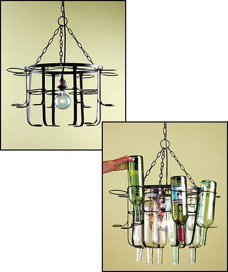 Wine Bottle Chandelier Combine Your Empty Bottles With This Frame To Give Kitchen Or Dining E Artistic Impact