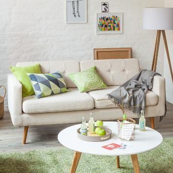 Sofa Croom I (3-Sitzer) - Webstoff - Beige