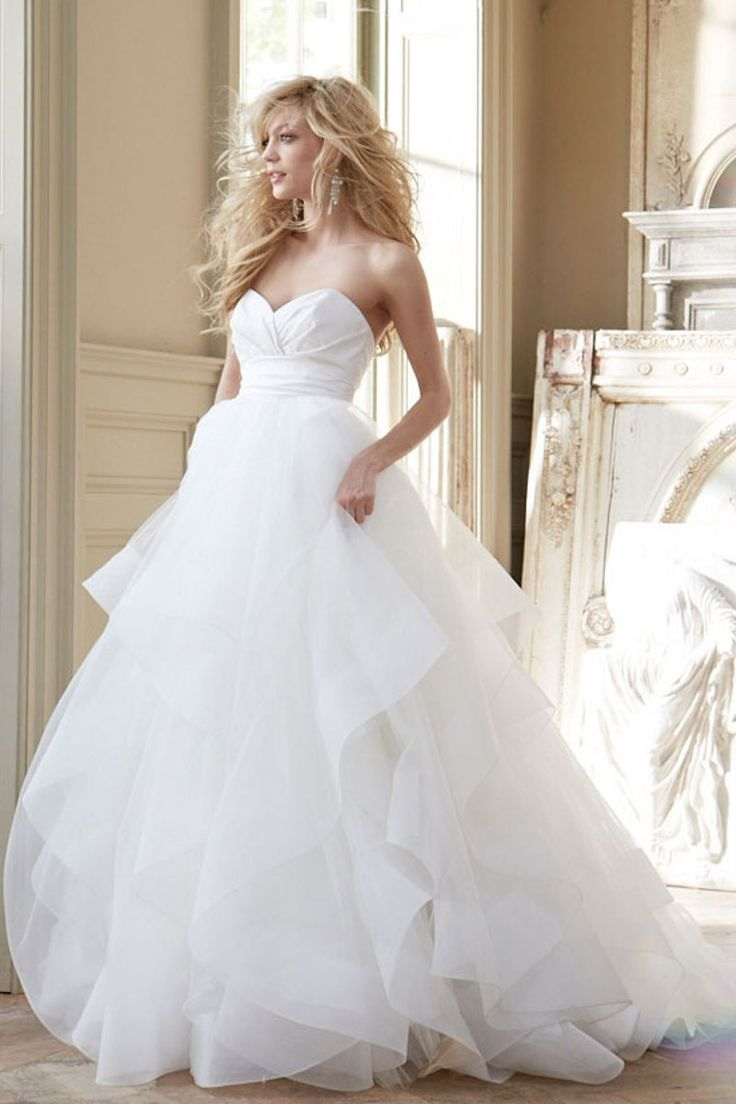 Fluffy wedding dresses  court train sweetheart aline empire low back satinorganza wedding
