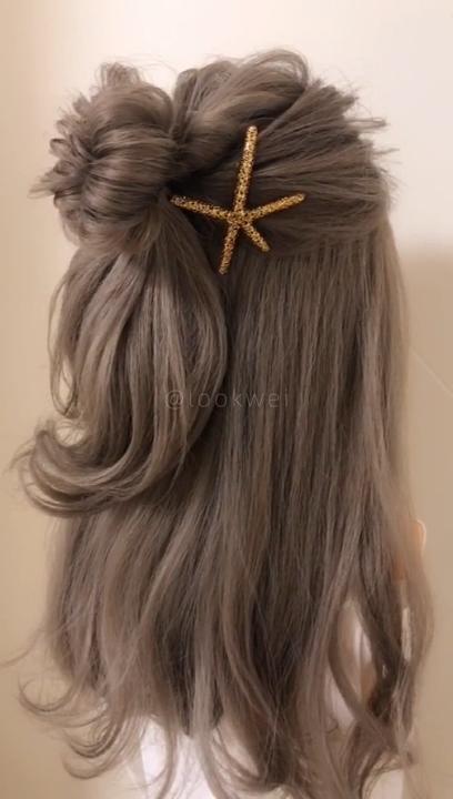 A beautiful Meatball head hairstyle idea
