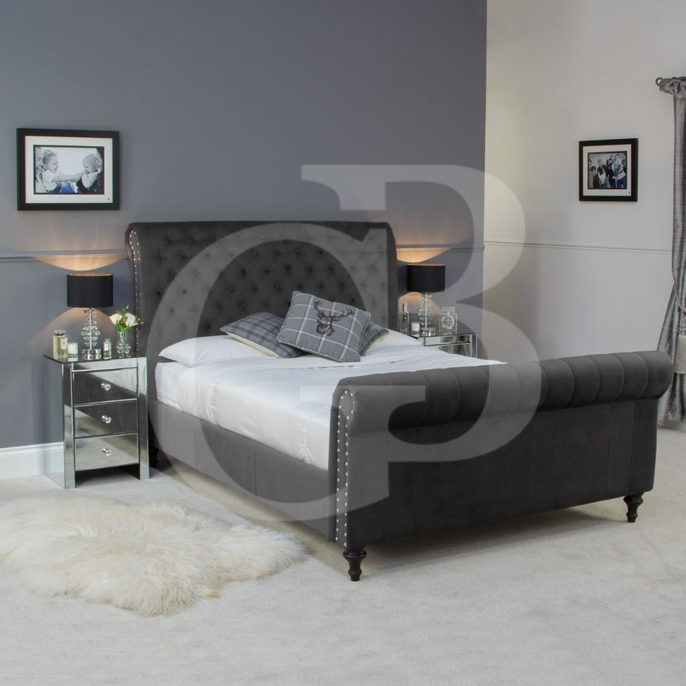 New Premium Velour Dark Grey Chesterfield Upholstered Bed Ego1142 V In Stock In Home Furniture Diy Furniture Beds Mattres Upholstered Beds Bed Upholster