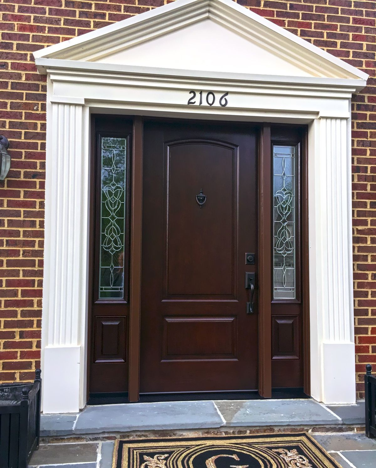 Provia signet cherry fiberglass entry door and sidelights Fiberglass exterior doors with sidelites