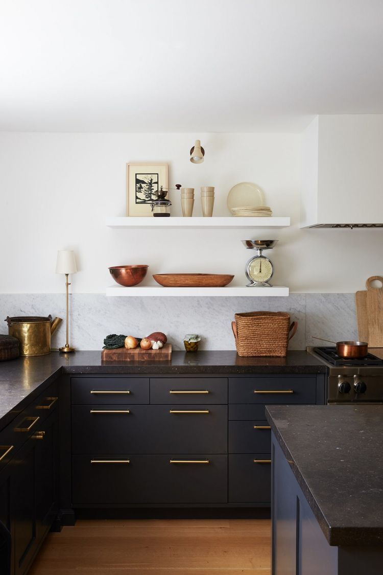 Black Kitchen Cabinets Open Shelving In 2020 Kitchen Trends