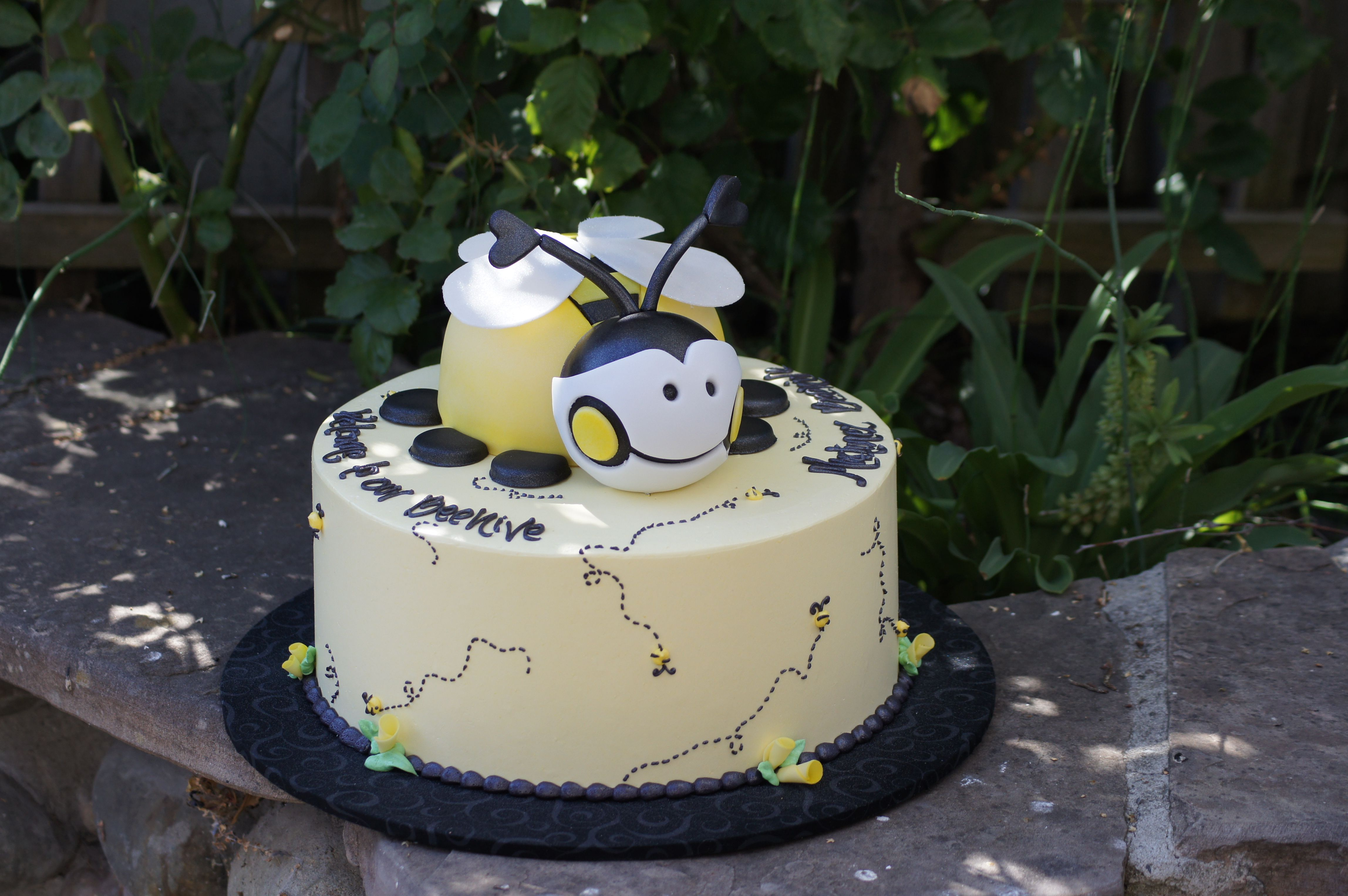 Tiered yellow bee shaped baby shower cake Shaped Cakes Pinterest