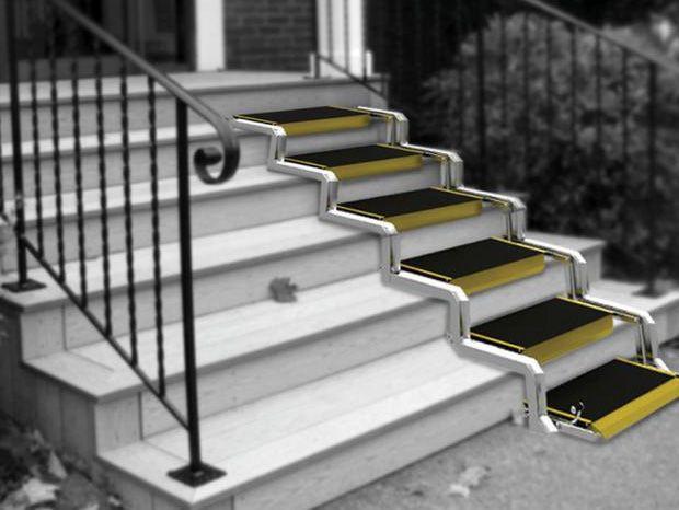 Un Fantastique Concept D Escalier Convertible En Rampe D Acces Pour Les Handicapes Rampe Pour Fauteuil Roulant Escalier Rampe Escalier