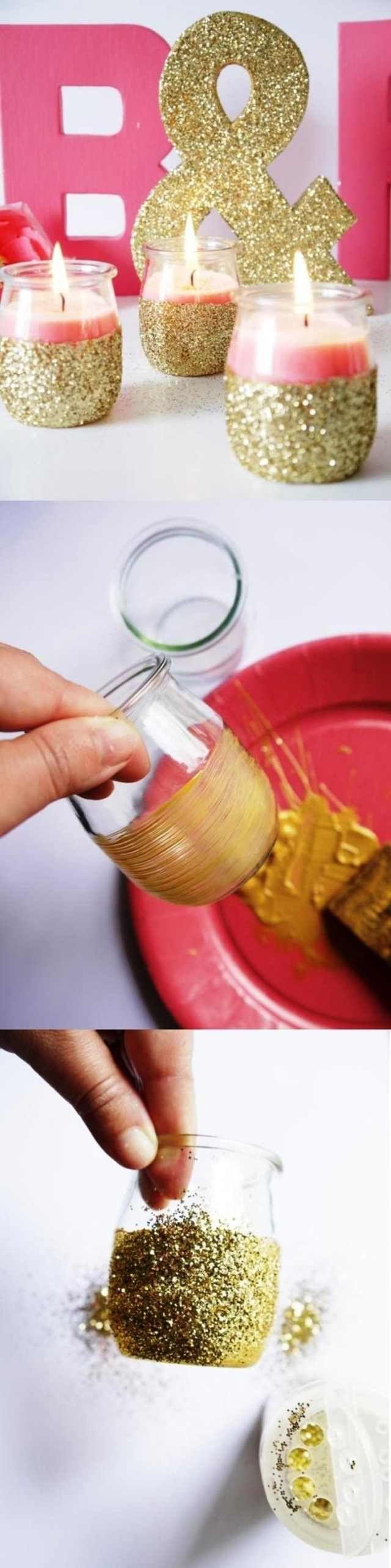 Badezimmer dekor mit einweckgläsern tischdeko hochzeit selber machen kerzenhalter goldener glitzer