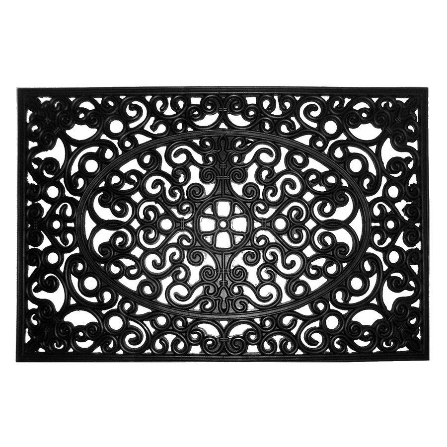 Allen Roth Black Rectangular Door Mat Common 2 Ft X 3 Ft Actual 24 In X 36 In Allen Roth Door Mat Home Remodeling Diy