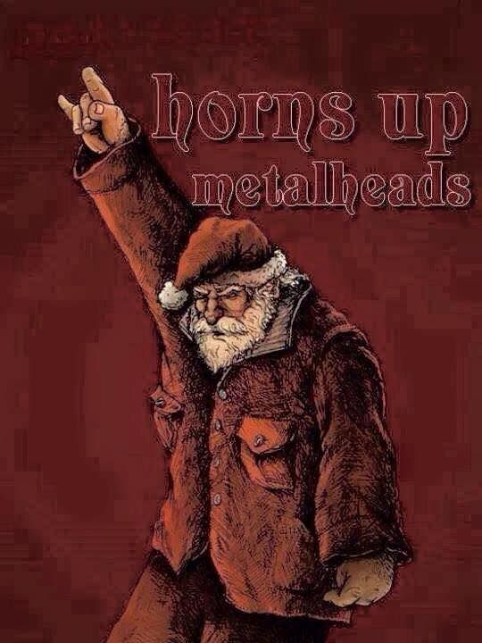 Merry Metal Christmas Horns Up Metalheads M Heavy Metal Christmas Metal Music Creepy Christmas
