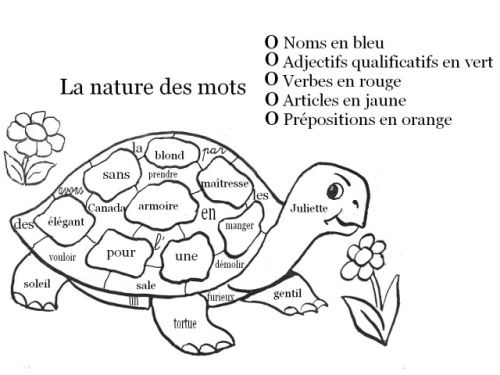 Coloriage magique la nature des mots la tortue 3 - Coloriage magique grammaire cm1 ...