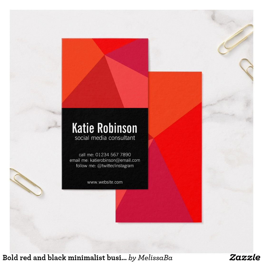 Bold red and black minimalist business card business pinterest bold red and black minimalist business card reheart Images