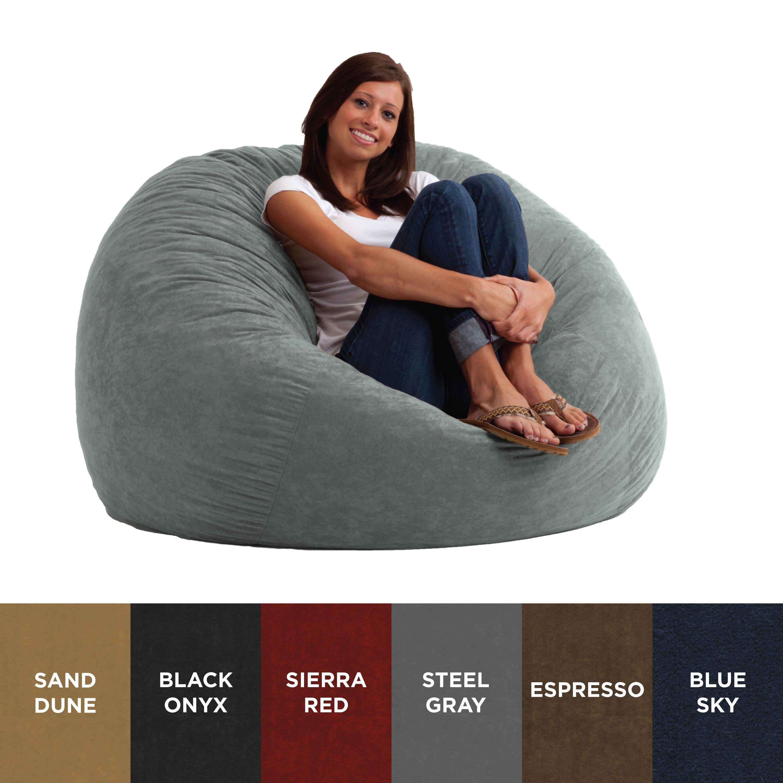 Comfort Research Fufsack 4 Foot Large Memory Foam Microfiber Bean Bag Chair Blue Sky