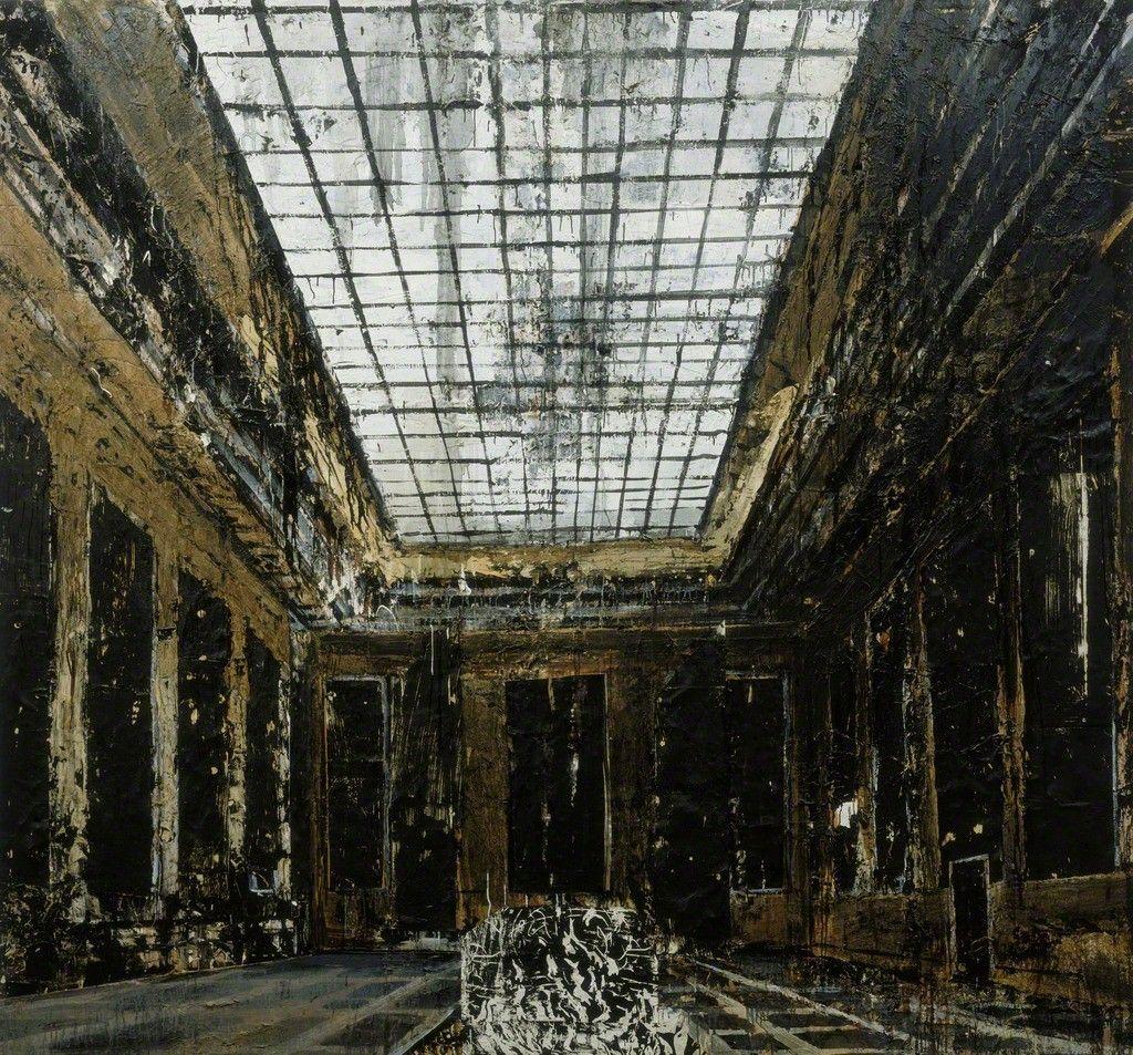 """ Anselm Kiefer (b.1945), Interior (1981), oil, acrylic, and paper on canvas, 311 x 287.5 cm. Via Artsy. """