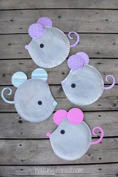 Paper Plate Mouse Easy Kids Craft Use Black And White Paint So