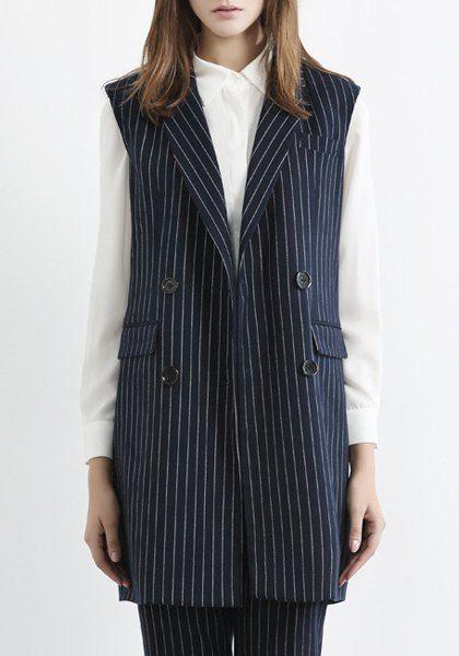 OL Style Women's Lapel Vertical Stripe Waistcoat
