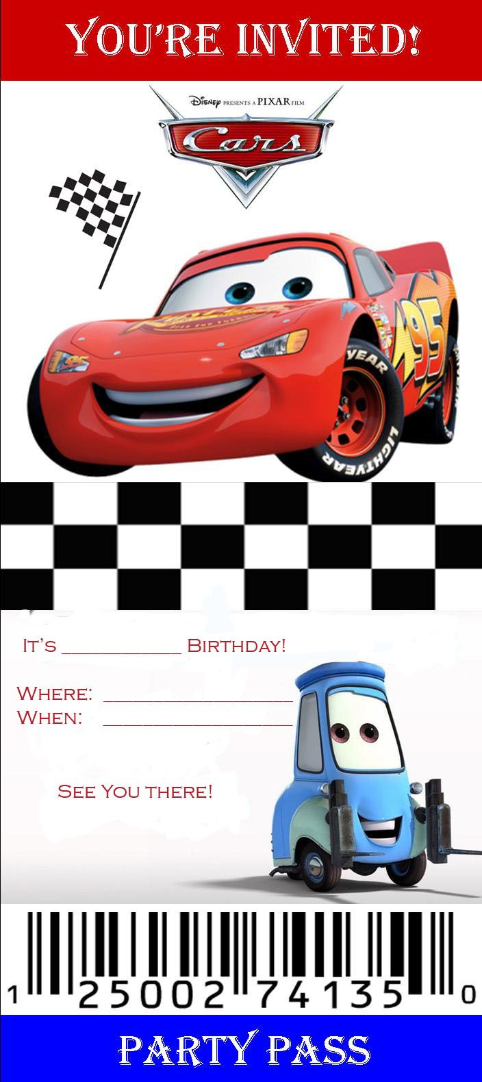 Cars Ticket Invitation Template