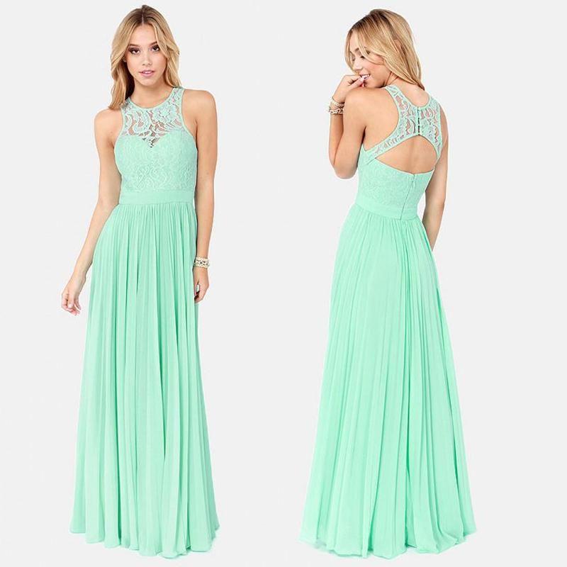 Elegant 2015 Mint Green Prom Dresses Appliques Lace Sheer Neck Crew ...
