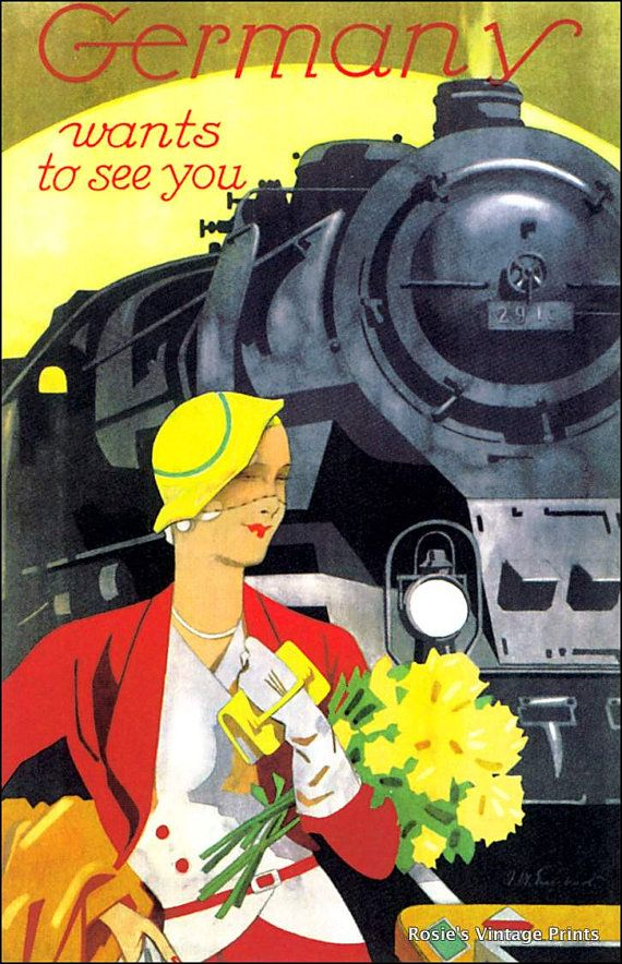 Germany Wants to See You Vintage Travel Poster 1930s - Giclee Fine Art Print