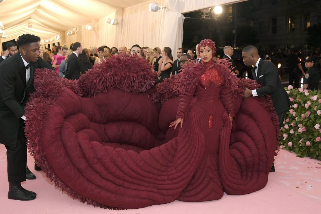 Cardi B Came In Hot In A Fiery Red Peacock Gown Worthy Of