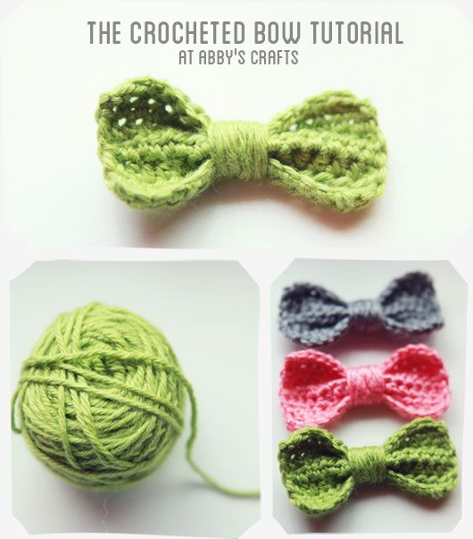 Crocheted bow tutorial | Crochet | Pinterest | Ganchillo, Tejido y Moños
