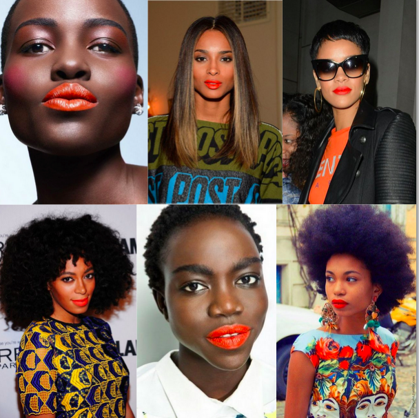 Image result for images of black women on orange lipstick colour