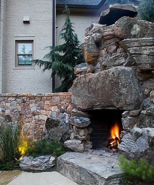 Beautiful Rustic, Primitive Style Outdoor Fireplace With Gigantic Boulders