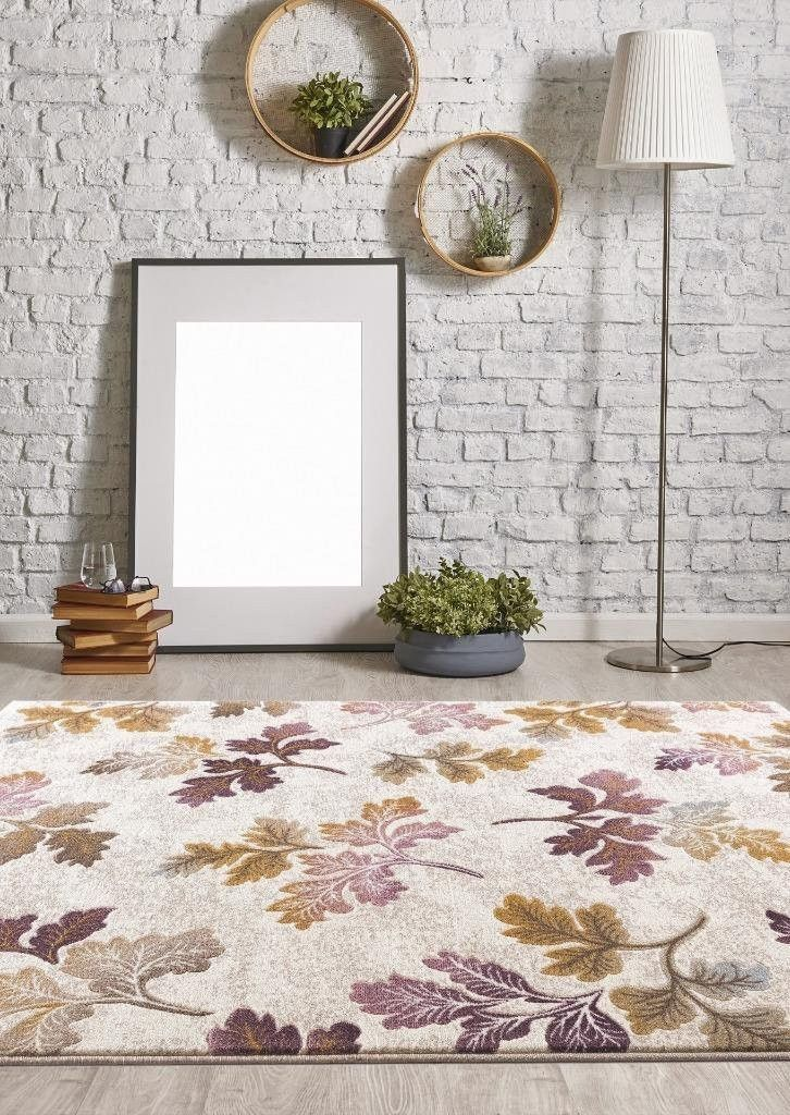 Ivory Floral Purple Gold Branches Transitional Discount Area Rugs