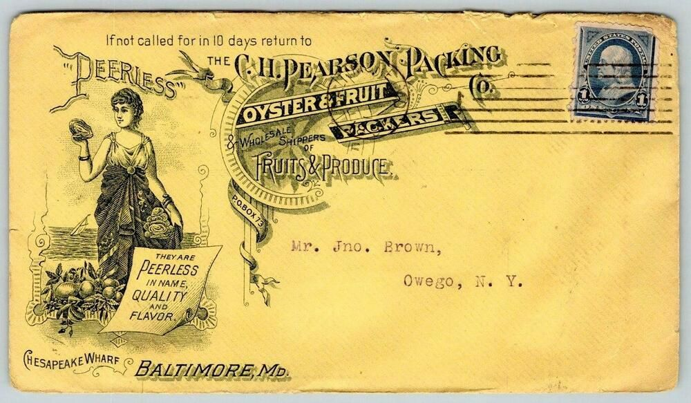 1895 Oysters Fruit Packers Pearson Packing Company Baltimore Chesapeake Wharf In 2020 Chesapeake Packing Companies Eutaw