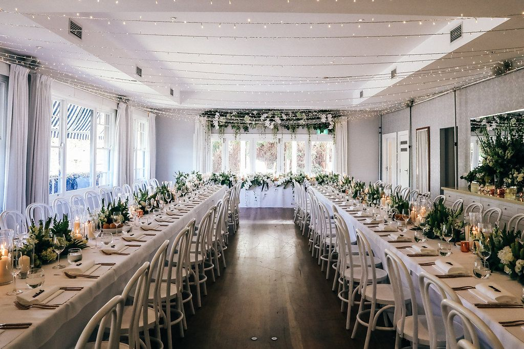 Fairy Light Canopy, White Bentwood Chairs, Hurricane Candles, Floral  Centerpieces And Hanging Floral Bridal Table Installation PC: Lisse  Photography ...