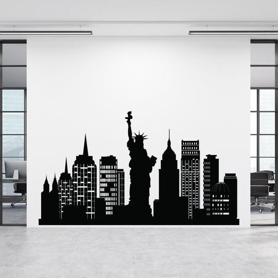 Nyc Skyline Wall Decal New York City Silhouette Vinyl Sticker Nyc Theme Decor Statue Of Liberty De City Silhouette City Decor New York Cityscape