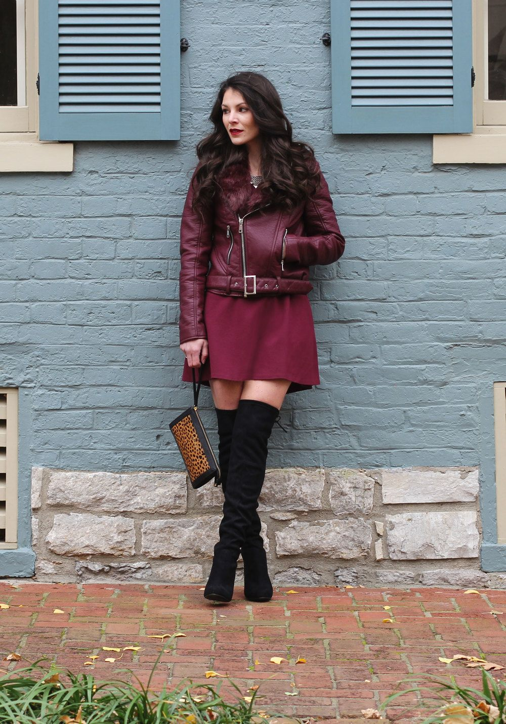 Holiday Outfit, Winter Fashion, Maroon Moto Jacket, Marsala Skater Dress, Steve  Madden