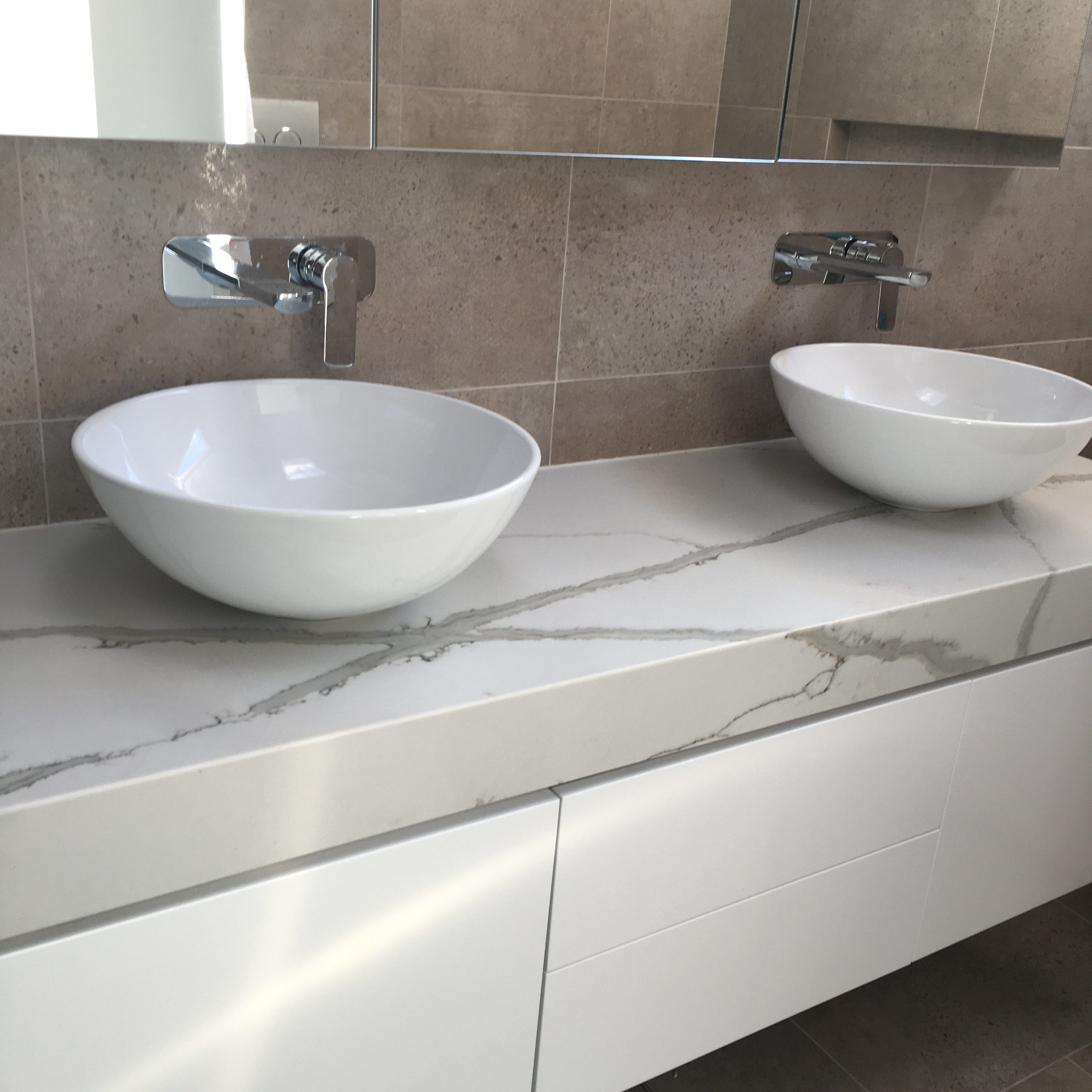 Polyurethane Vanity With 100mm Stone Benchtop Sink Stone