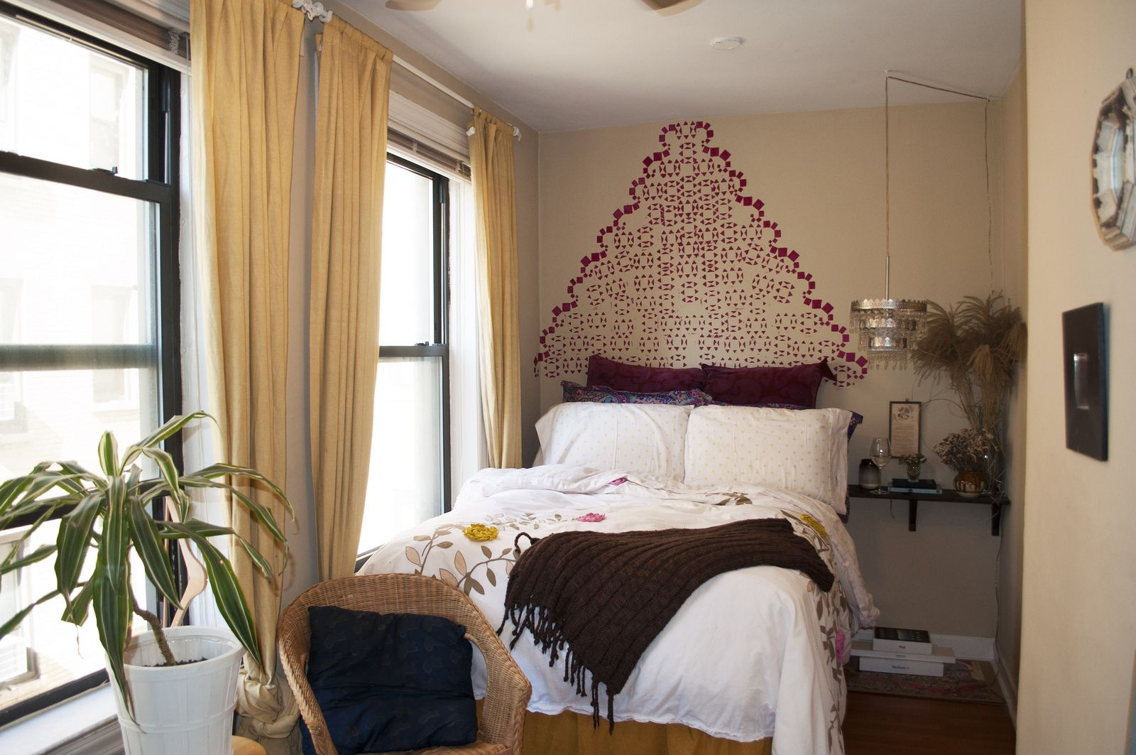 Make your own headboard by decorating the wall behind your