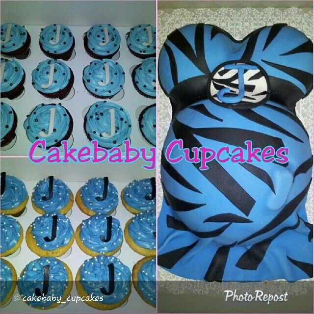 Customized Blue and Black Zebra with monogram Baby Bump Cake/Cupcake Party…