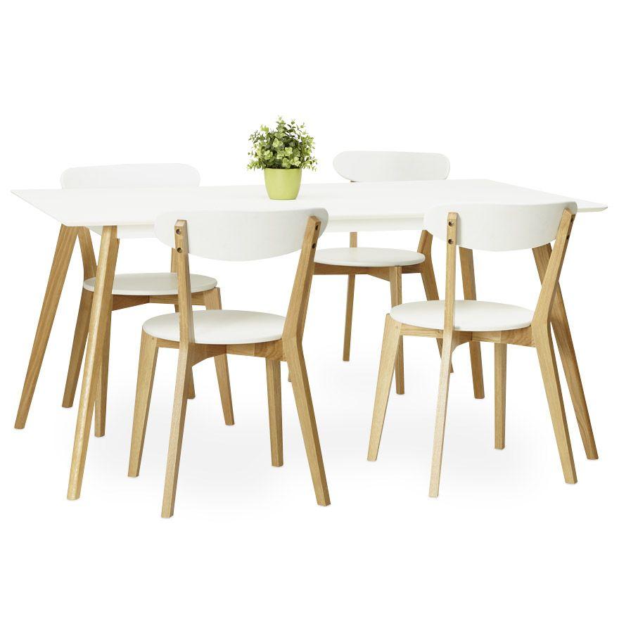 Table rectangulaire en bois clair chaises scandinaves et suspension - Chaise Scandinave Dady Blanche Design
