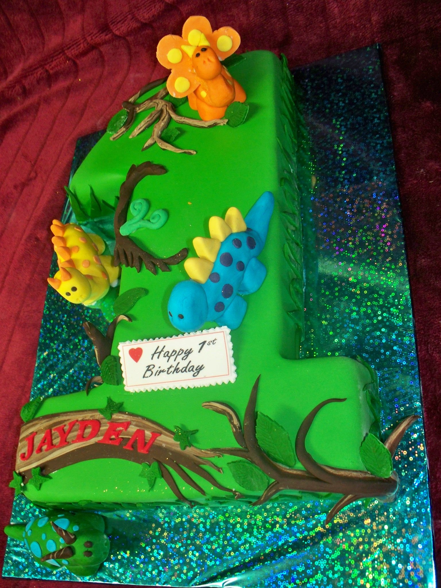 Brilliant Dinosaur Themed Number One Cake Best Birthday Cakes In Auckland Funny Birthday Cards Online Eattedamsfinfo
