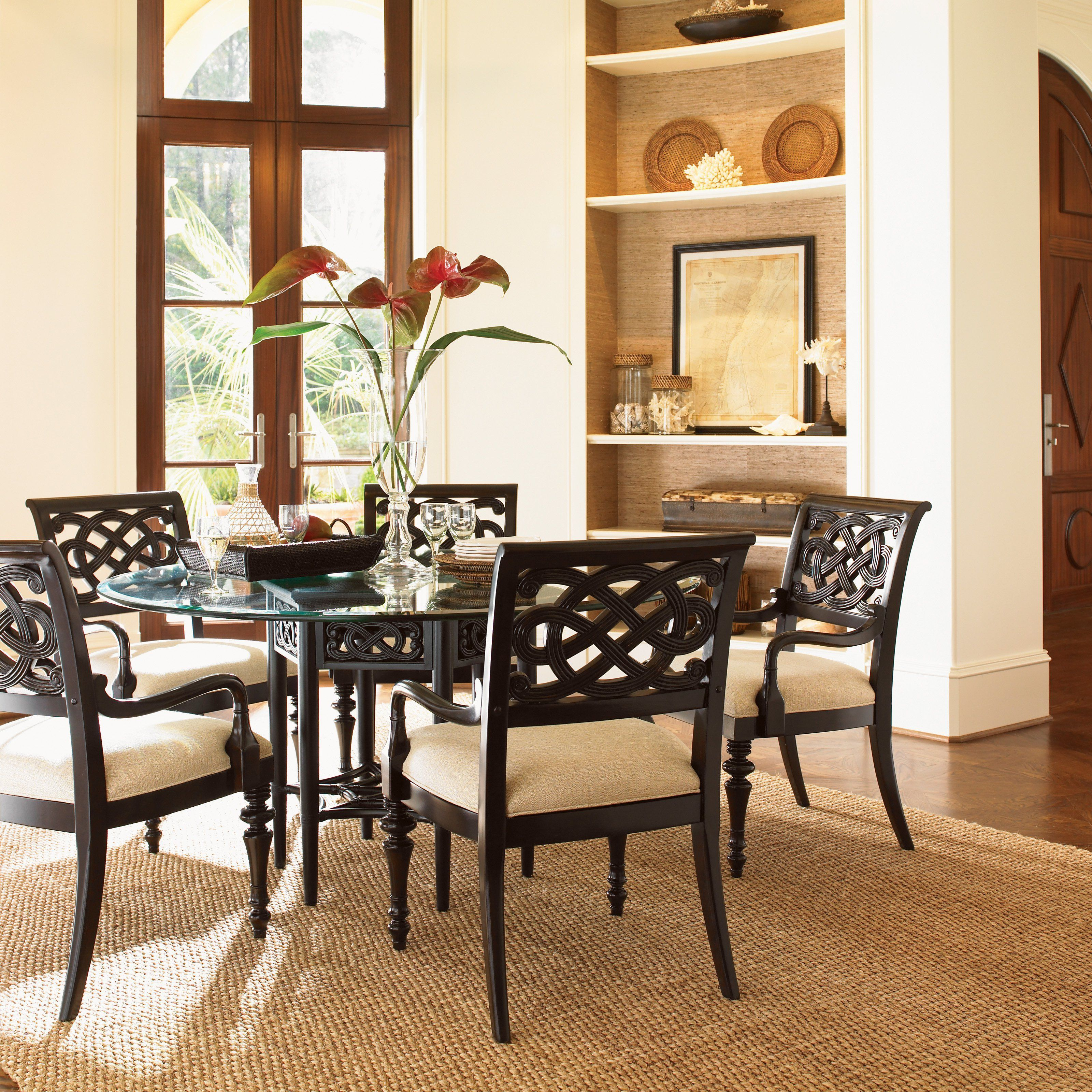 Tommy Bahama Royal Kahala 7 Piece Sugar And Lace 60 In Glass Dining Table Set With Images Glass Dining Table Set Glass Dining Table Dining Table In Kitchen