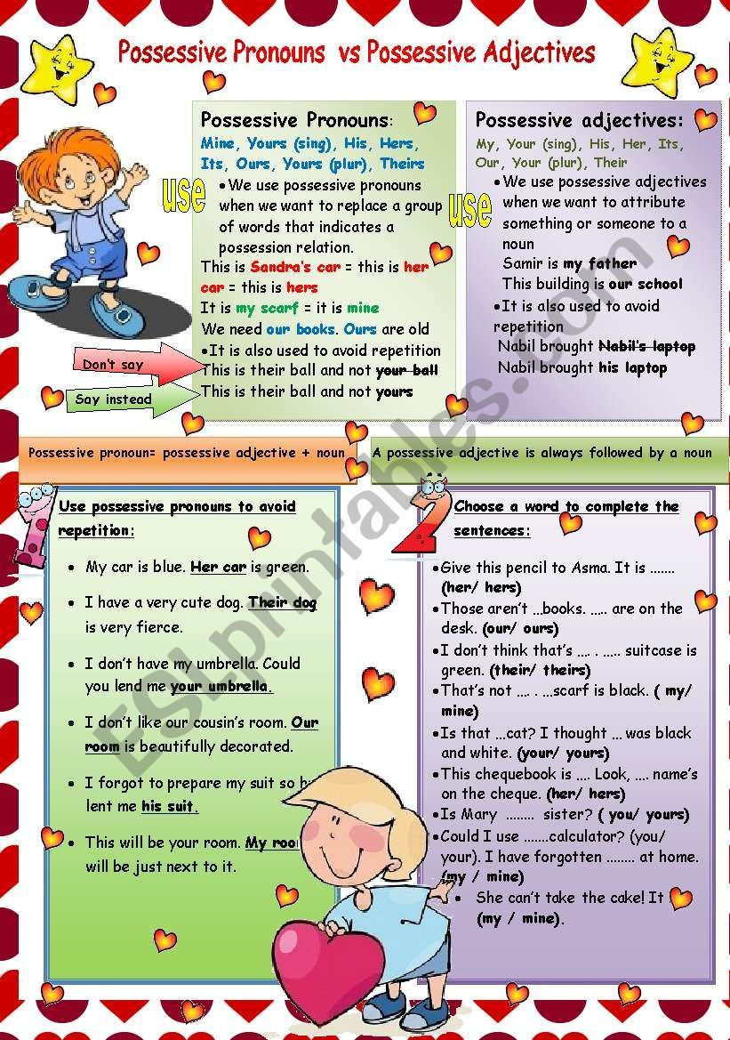 This Is A Grammar Guide Two Exercises To Focus On The Difference Between Possessive Pronouns And Possessive Possessive Adjectives Possessive Pronoun Pronoun [ 1169 x 821 Pixel ]