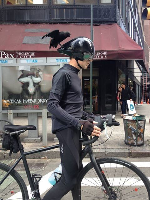 """ONLY IN NY: This biker with an """"unusual"""" helmet snapped by agent James McHugh outside our Columbus Circle office"""