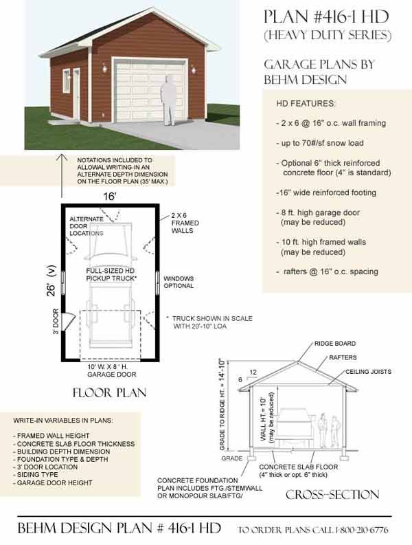 Heavy Duty 1 Car Garage Plan By Behm Design 16 X 26 Garage Plans Garage Plan Garage Plans Free