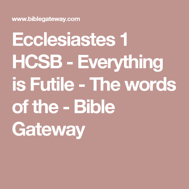 what does futile mean in the bible