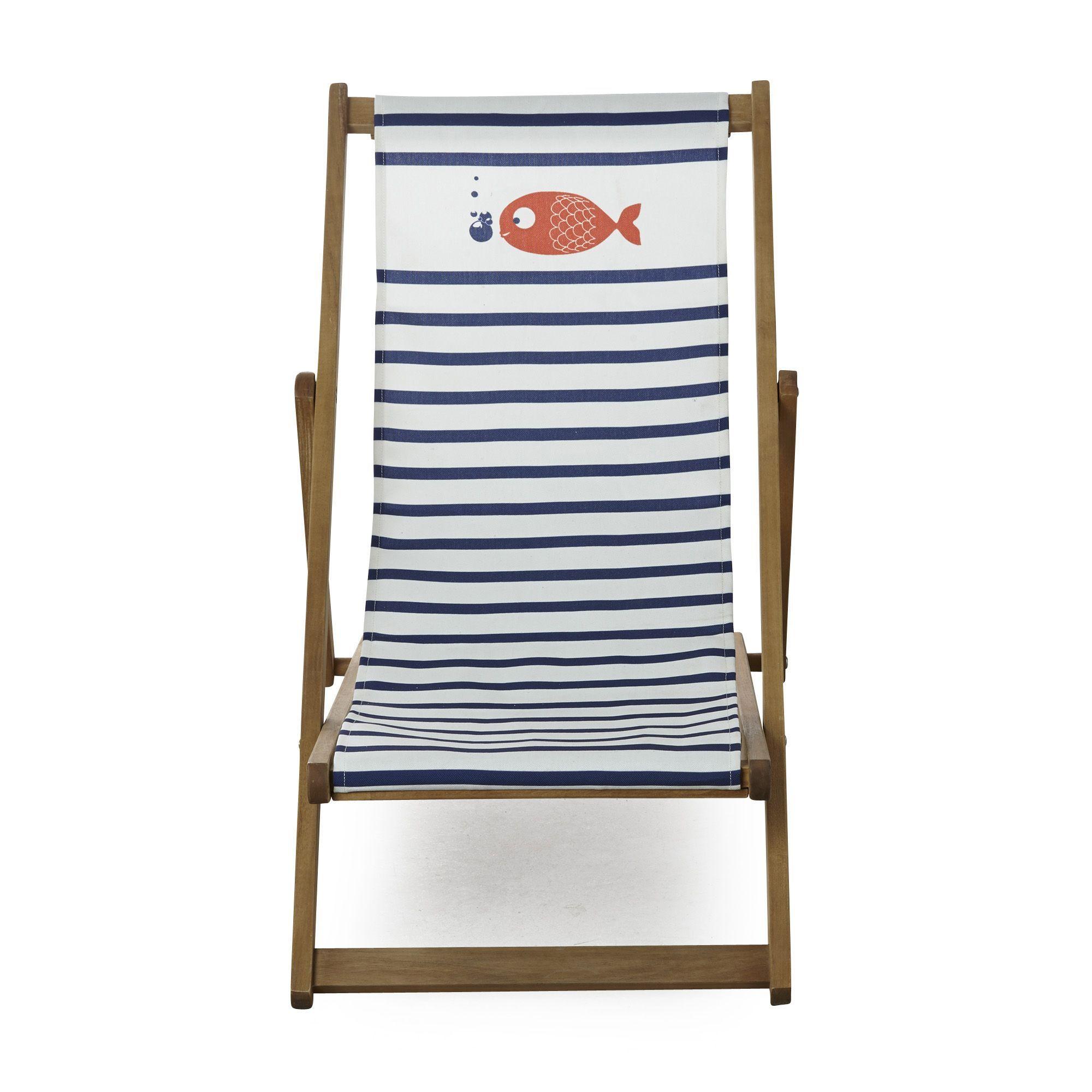 Chaise longue de jardin / chilienne motif marinière pour enfant ...