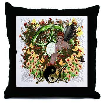 Pentacle Fairy Elf Art Throw Pillow