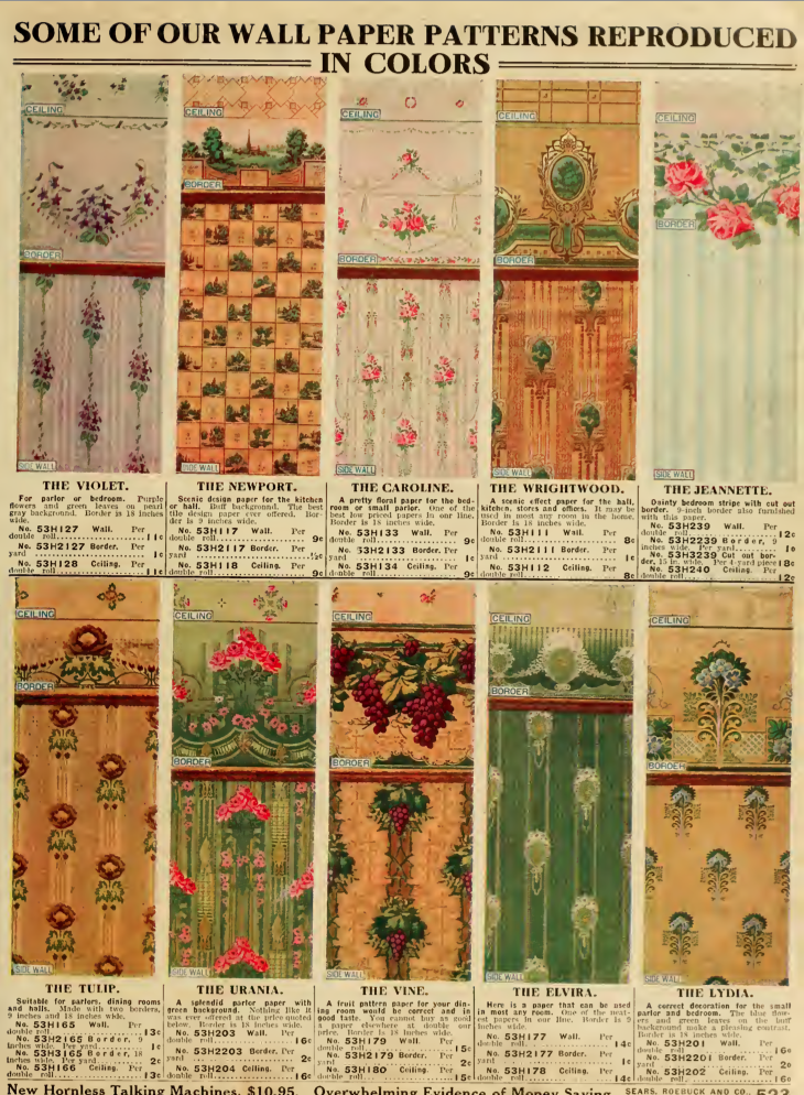 Wallpaper from the 1912 Sears catalog. | Victorian home ...