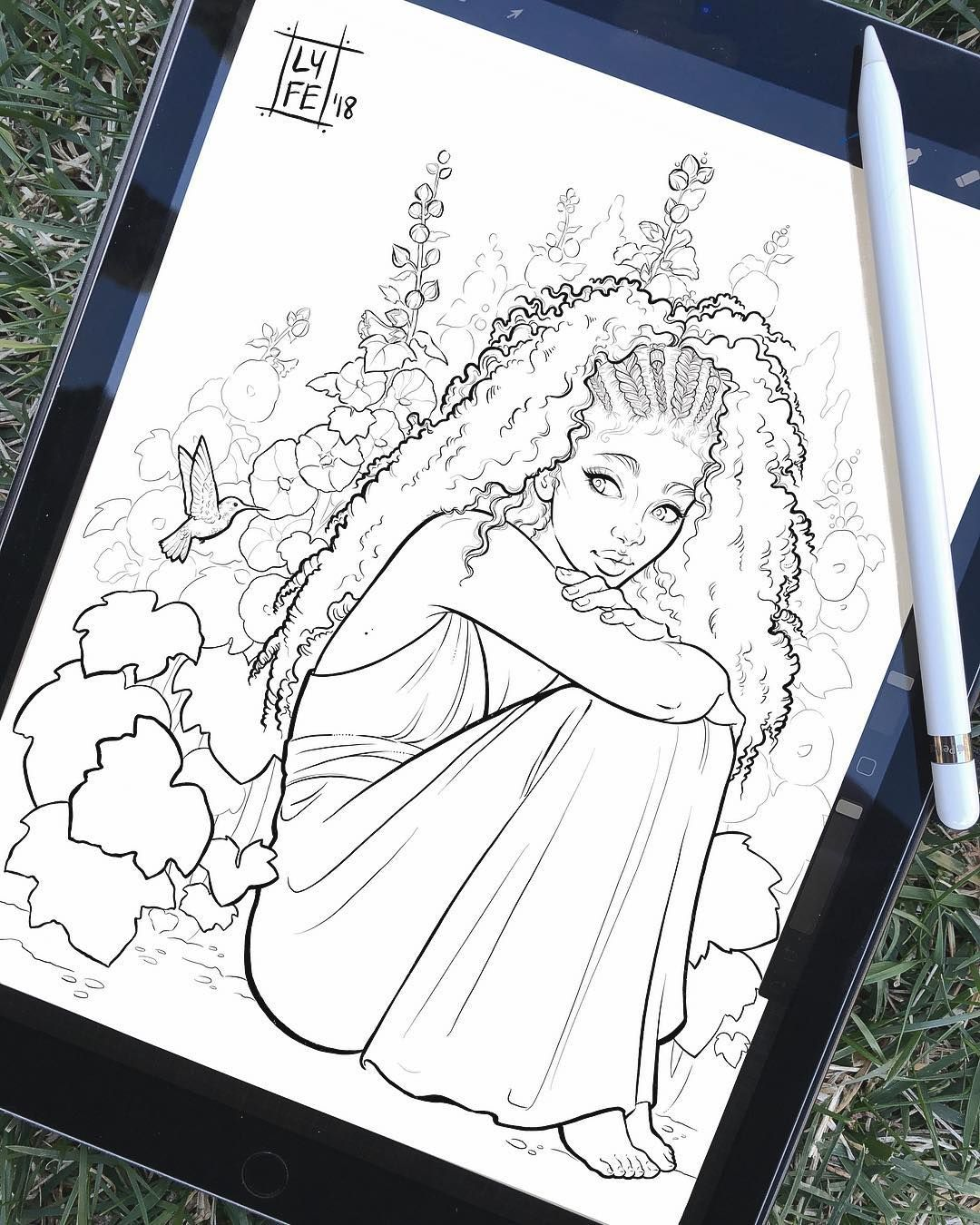 floralfeb Hollyhock is done for my Flower Girls coloring book! I ...