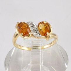 Estate Jewelry - Ladies 14K Gold 1.7CT Citrine and Diamond Ring